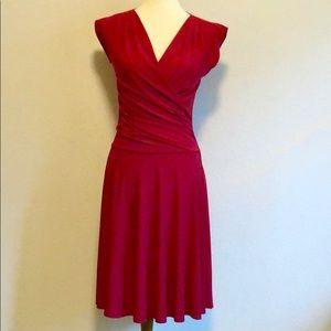 Soprano Red Midi Dress Wrap Top Drop Waist Small